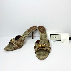 Gucci GG Monogram Canvas Horsebit Bamboo Heels
